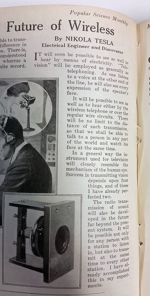 Nikola Tesla, in 1922, predicted Skype and Facetime in Popular Science.