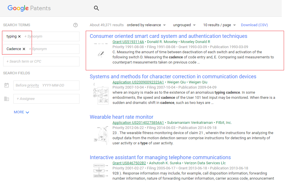 A simple patent search performed without using quotes brings slightly irrelevant results