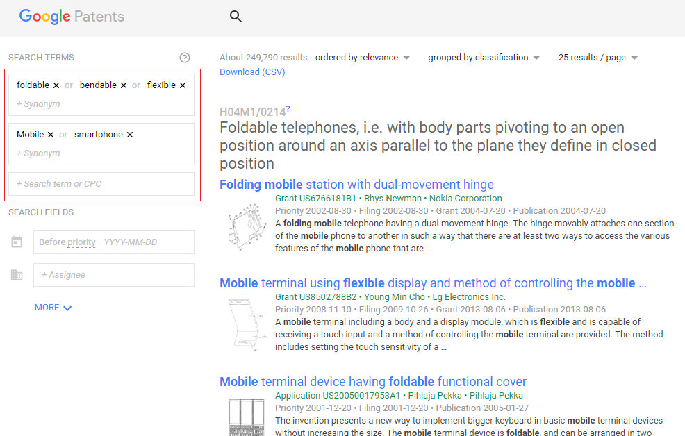 Google Patents automatically adds AND and OR operators between search fields and keywords