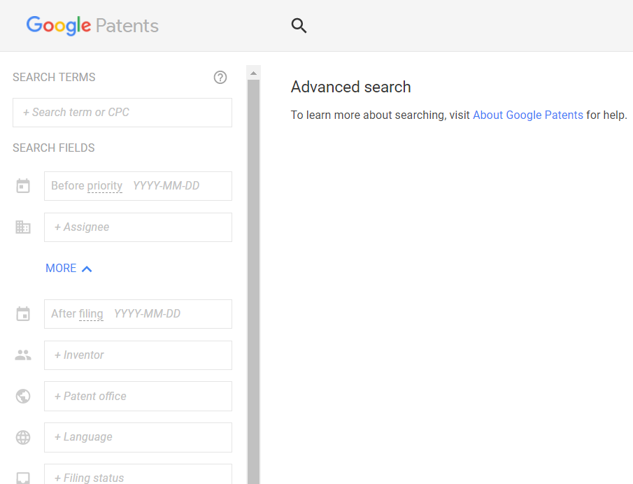 google patents advanced search interface