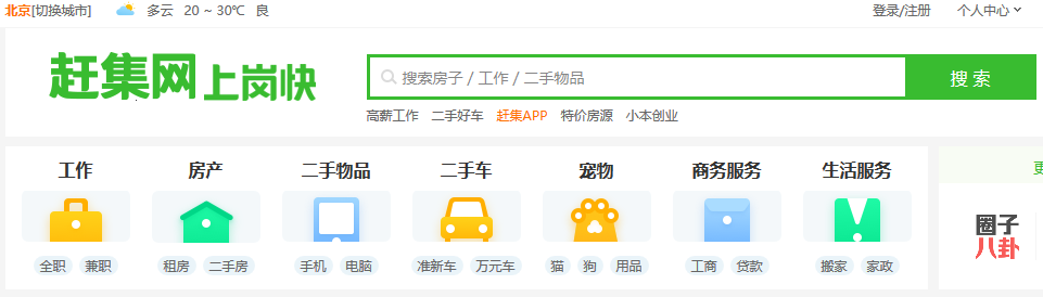 A dashboard of the Chinese version of Craigslist.