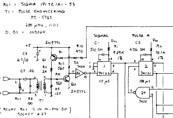 """(The """"74122"""" IC in the middle is a well-known """"one-shot"""" chip. It generates an output pulse at a very specific point of time.)"""
