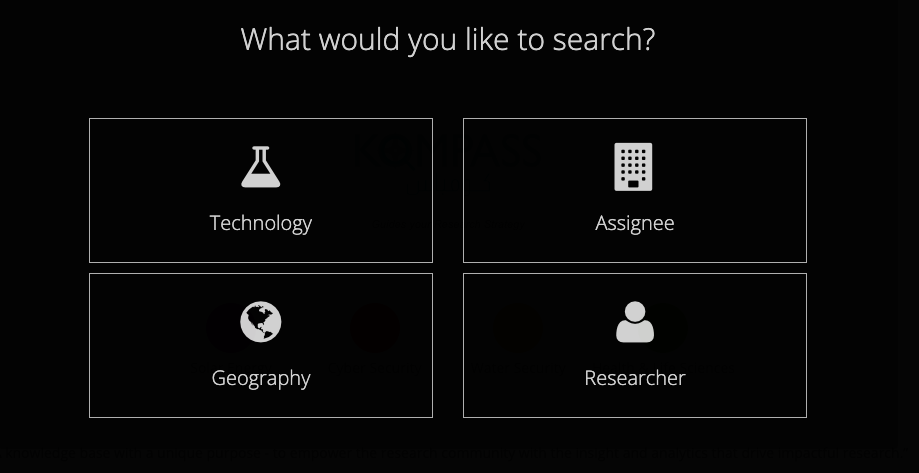 """What would you like to search?"" - Technology, Assignee, Geography, Researcher."
