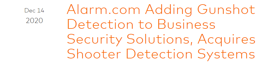 Shooter Detection System acquired by Alarm.com